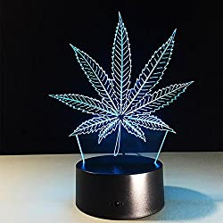 LPY-Marihuana-Blatt 3D Illusion Lampe Cannabis Weed optische visuelle Nachtlicht Zimmer Party Decor Beleuchtung