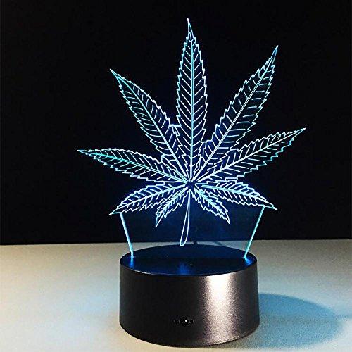 LPY-Marihuana-Blatt 3D Illusion Lampe Cannabis Weed optische visuelle Nachtlicht Zimmer Party Decor Beleuchtung (Blätter Voller Weed)