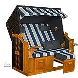 Strandkorb BALTIC-R BLW XXL, anthrazit, blau-weiß-grauer gestreifter Bezug, von LILIMO