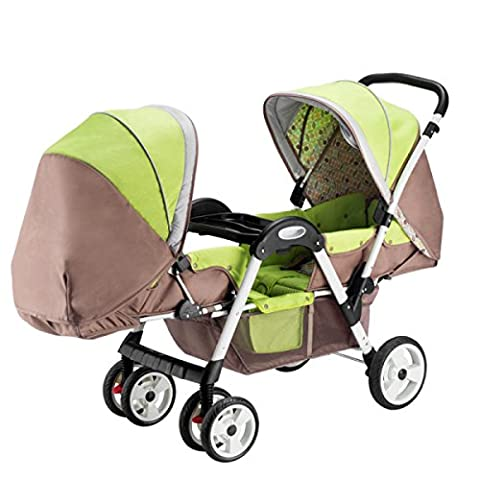 POKWAI High-profile Twins Baby Trolley Can Sit In Four Rounds Of Shock Absorbers Double Folding