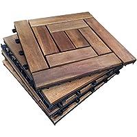 6baldosas de madera dura de Acacia, cada baldosa está compuesta de 10 listones de madera encajadosPara patio, jardín, balcón, jacuzzi.Baldosa cuadrada de 30cm.