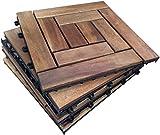 6x Holz Interlocking Akazien Hartholz Sonnendeck Fliesen–10Lamellen Fliesen. Terrasse, Garten, Balkon, Whirlpool. 30cm Vierkant Deck Tile
