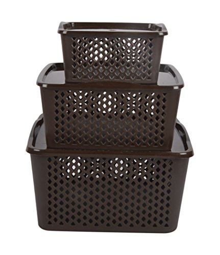 Sonal Plastic Forever Basket with Lid (15 cm x 15 cm x 7 cm, Brown, Pack of 3)