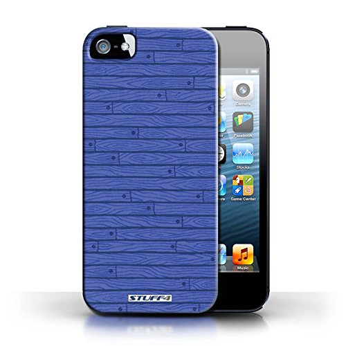 KOBALT® Hülle Case für Apple iPhone 5/5S | Grau Entwurf | Holz-Muster Kollektion Blau