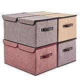EZOWare Boîte de Rangement Pliable de 30L avec Couvercle, Cube, Boîte Range pour...