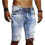 LEIF NELSON Herren Jeans Shorts Sommer Kurze Jogger Hose Jeanshose Chinos Cargo Bermuda Stretch Slim Fit LN9290; W36; Blau