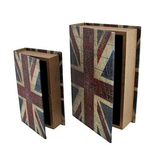 Set von 2Britische Flagge Print Kunstleder Book Secret Stash Boxen (Britische Möbel)