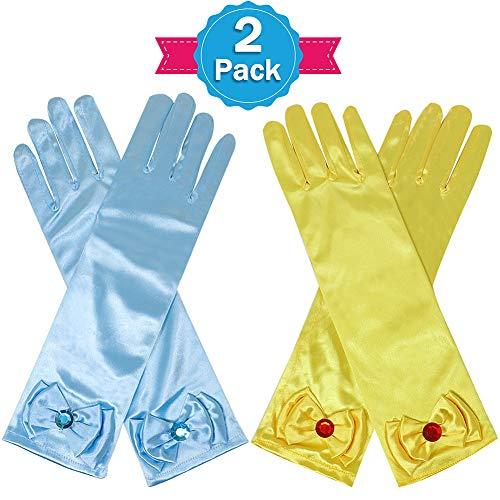 (Casibecks Prinzessin Kostüm Zubehör Prinzessin Handschuh Prinzessin Belle ELSA Cinderella für Mädchen Kinder Cosplay Fancy Dress (2 Paar))