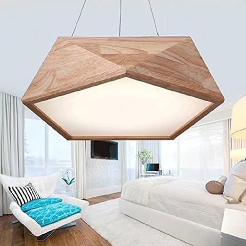 LOFAMI Kreativ Massivholz Kronleuchter Geometrische Modellierung LED Acryl Schatten Restaurant Decke Cafe Wohnzimmer Dekorative Hängelicht
