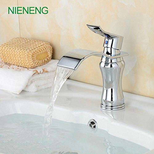 Retro Deluxe Faucetinging Badezimmerhähne tippen Sie auf neue Waschbecken WC Einbau geknickt heißes Wasser Mischer silber Wasserfall Wasserhahn Kupfer Chrom Armaturen ICD 60282, Chrom