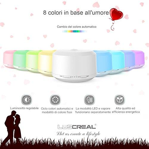 comprare on line Diffusore di Aromi 450ml per grandi ambiente, diffusore oli essenziali e umidificatore d'aria con 8 luci colorate e 4 impostazioni timer -LUSCREAL prezzo