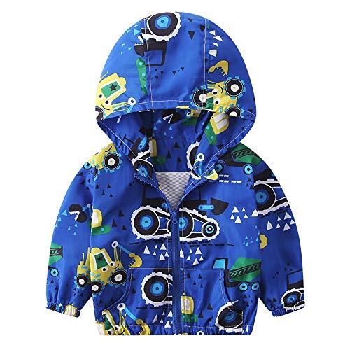AE Bei Kinder Mäntel Mädchen Jungen Herbst Jacke Oberbekleidung Bagger Hoodie Windbreaker, blau, 2-3 Jahre