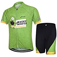 JT-Amigo Unisex Boys Girls Cycling Jersey Set (Short Sleeve Jersey + Padded Shorts), Green 6-7 Years (Manufactory Size L)