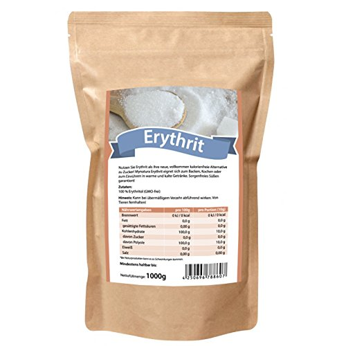 Mynatura Erythrit Erythritol ZUCKERERSATZ - kalorienfreies Süßungsmittel - ideal zum Backen, Kochen und Einrühren (1er Pack (1 x 1000g))