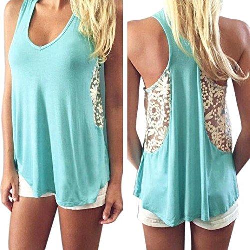 Ineternet Femmes Sexy Summer Dentelle Veste T Shirt Blouse Casual Débardeurs Bleu