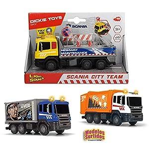 Dickie Toys 203742011 Scania City Team - Camión de la Basura (17 cm, 3 Modelos), Multicolor