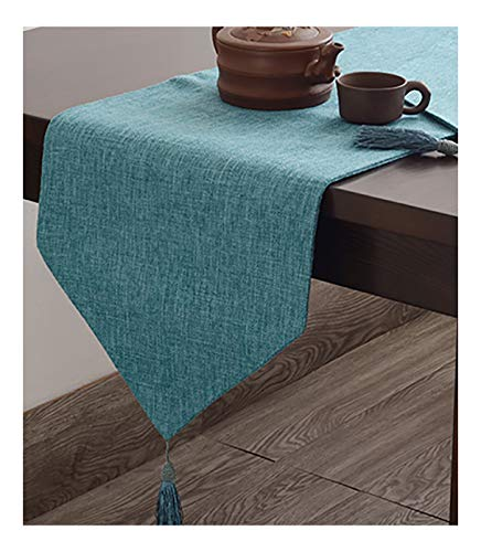 Runner da tavolo moderno semplice cotone e lino tinta unita tovaglia lunga mobile tv bellissimo lussuoso luminosa regalo (azzurro,32 * 180cm)