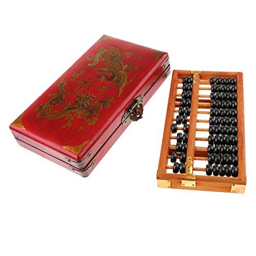 Baoblaze Ábaco Cuentas de Madera Herramienta China para Enseñanza de Matemáticas Estilo Chino de Vendimia - 11 barras: 21.5x11.2x2.1 cm