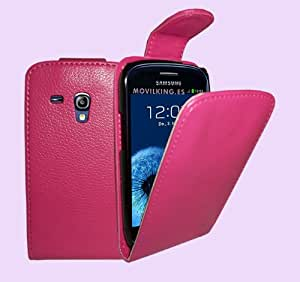Rose Cuir Étui Coque pour Samsung i8190 Galaxy S3 Mini - Flip Case Cover + 2 Films de protection d'écran