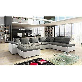 tendencio Grand Canapé d'angle XXL ALIA Moderne et Design en Tissu et Simili Cuir