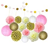 (Kit di 16 pz) Pompon Decorativi Fiori Ghirlanda Festoni Lanterne di Carta Decorazione per Matrimonio Compleanno Festa Colore Rosa Avorio Oro