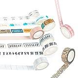 Washi Tape Allzweckband Set, zum Basteln und Dekorieren, Papier-Klebeband, 15mm x 7mm Lace And Basic