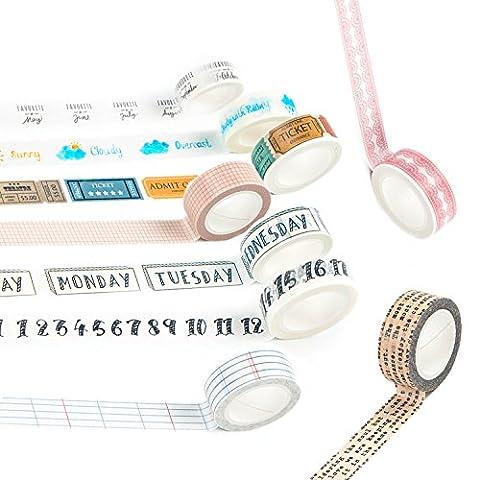 Washi Tape Set Masker Tape Art Crafty Rollen Dekorieren Basic Classic DIY Papier Klebeband 15mm x 7mm Lace And Basic