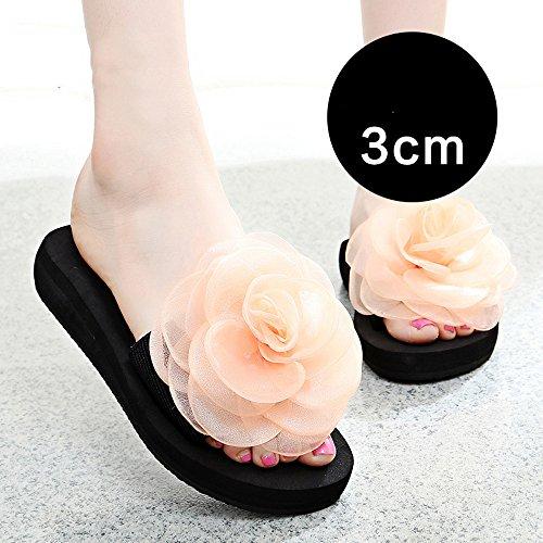 Cailin Sandals, 3cm / 7cm Chaussons d'été féminin Chaussons de chaussures de femme épaisse en gros chaussures de plage de mode (bleu / noir / orange / pourpre) ( Couleur : 7CM-Black , taille : EU36/UK 3CM-Orange