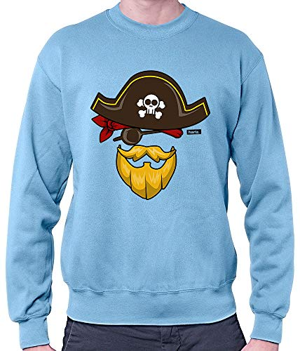 HARIZ Herren Pullover Pirat Kostüm Karneval Kostüm Inkl. Geschenk Karte Himmel Blau - Himmel Kostüm Pirat