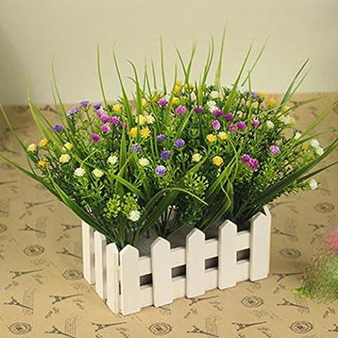 Hctina Artificial flower Plants Wooden Fence Set Color Blue Floral 15Cm