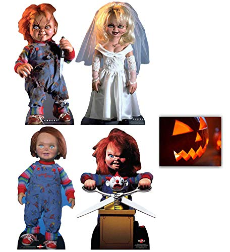Chucky Sammlung Offiziell Pappfiguren / Stehplatzinhaber / Aufsteller Fan Pack 4er Set beinhaltet Scarred Chucky, Tiffany, Good Guy Chucky & Chucky with Jack in the Box Enthält 8X10 (25X20Cm) starfoto