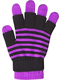 Ladies & Girls Super Soft Stripy Magic 2 in 1 Winter Gloves with Fingerless Gloves