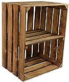 CHICCIE Vintage Holzkiste mit Ablage vom Werk (längst) - Gebrannt Geflammt - Obstkiste - Weinkiste - Natur Used Look Vintage Holzkiste mit Ablage Regal