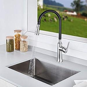 AuraLum Grifería Extensible para Cocina Grifo de Diseño para Cada Fregadero, Grifería Mezcladora de Fregadero con…