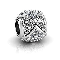 Abalorio charm estilo Pandora, plata de 925 con circonitas. Compatible con todas las marcas de pulseras (Pandora, Chamilia, Thomas Sabo,..)