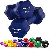 MOVIT 2er Set Neopren Hanteln, Kurzhanteln mit Oberfläche aus Neopren, 2X 2,5 kg Blau