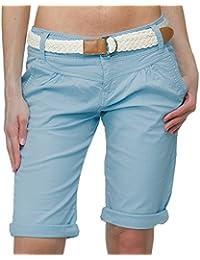 Fresh Made Damen Capri im Chino Design mit Flecht-Gürtel | Elegante kurze Hose ideal für den Sommer middle-blue XL
