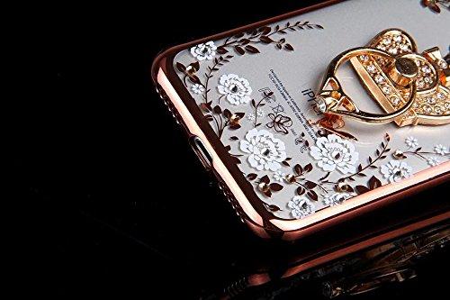 Für iPhone 7,Etsue Soft Silikon Schutzhülle Handyhülle Schutzhülle Silikon Backcover Case Dünn Anti-Shock Bumper Case Schön Mode Niedlich Muster Ultradünne TPU Silikon Weich Flexible Schutzhülle Stoßd Weiß Blume,Krone,Rose Gold