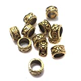 #7: Beadsnfashion German Silver Big Hole Tyre Beads Golden 7x5 mm, Pack Of 100 Pcs.