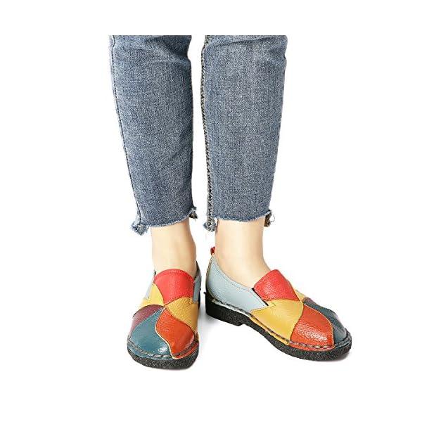 Socofy Mocasín de Mujer, Mocasín Slip-on Casual de Cuero de Mujer Zapatos Planos de Deslizamiento Mocasines de…