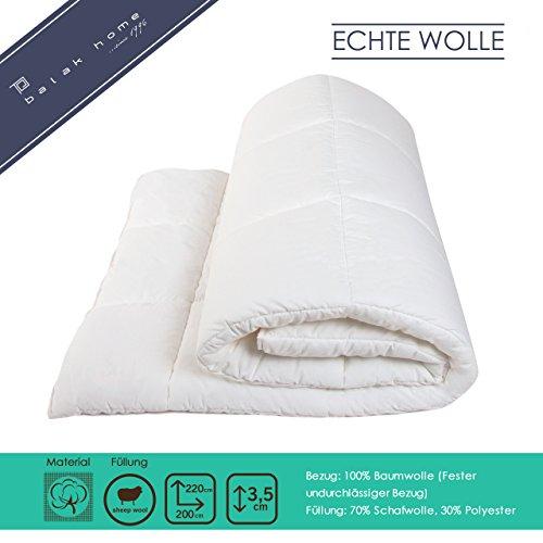 BALAK HOME® Premium Bettdecke Steppdecke Echte Wolle (200 x 220 cm) aus 100{b5c89bc56d3197b76e1bb2686e1eebe67679eb8cf6522c371401aec04b8a14c1} Baumwolle | Echte Schafwolle | Gesundes und wohliges Schlafklima | Original Oeko-TEX | direkt vom Hersteller