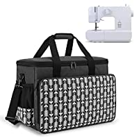 Yarwo Sewing Machine Carrying Case with Bottom Wooden Board, Universal Sewing Machine Tote Compatible with Most Standard Sewing Machine and Accessories, Black with Arrow