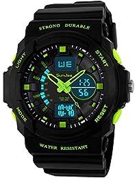 Durable SunJas Montre Sport avec Écran Lumineux Multifonctions Bracelet Électronique Étanche à L'eau Jusqu'à 30 M avec Lumière LED pour L'obscurité et de Sports Extérieurs vert
