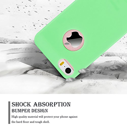 Cover iPhone 5S (4.0 pollici) Spiritsun iPhone 5 Custodia TPU Moda Elegante Case Cover Soft Silicone Back Cover Protezione Bumper Funzione Shell Morbida Flessible TPU Cover Per iPhone 5S/5/SE (4.0 Pol Verde