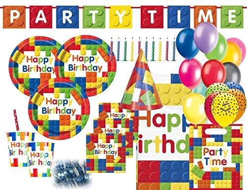 XXL 87 Teile Bausteine Geburtstags Party Set für 8 Kinder