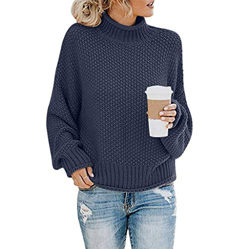 1930's Fashion Kostüm - LEXUPE Damen Herbst Winter Übergangs Warm Bequem Slim Lässig Stilvoll Frauen Langarm Solid Sweatshirt Pullover Tops Bluse Shirt(Marine,X-Large)