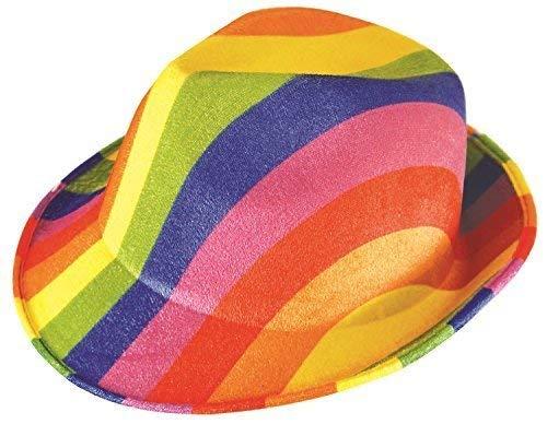 Fancy Me Herren Damen Heller Regenbogen Pride Karneval Mardi Gras Fest Fedora Schicke Verkleidung Kostüm Hut