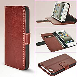 PU Leather Purse Wallet Case Cover w/ Card Slots / Stand for iPhone 5/5S - 6 Colors