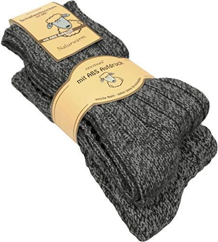 normani 2 Paar Schafwollsocken mit ABS Haussocken mit Schafwolle Farbe Anthrazit Größe 35/38