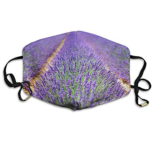 Daawqee Staubschutzmasken, Beautiful Lavender Flowers Printed Mask Neutral Mask for Men and Women Polyester Dust-Proof Breathable Mask